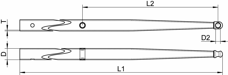 Relingst/ütze Edelstahl A4 poliert 550mm ARBO-INOX