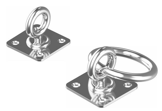 Augplatte mit Wirbel Decksbeschlag Decksplatte Edelstahl A2  40 x 40   ARBO-INOX